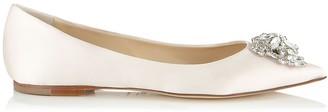 Jimmy Choo ALINA Ivory Satin Pointy Toe Flats with Crystal Detail