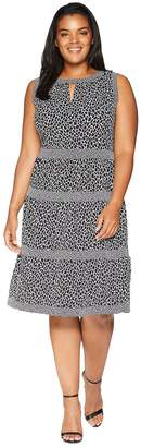 MICHAEL Michael Kors Size Leopard Border Tier Dress Women's Dress