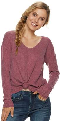 Mudd Juniors' Tie-Front Waffle-Knit Long Sleeve Top