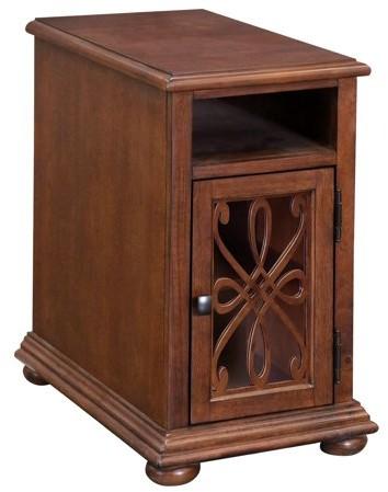 Generic Ornate Overlay Chairside Cabinet - Cherry Finish