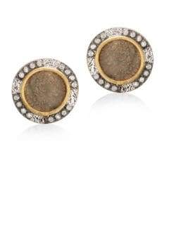 Coomi Silver Coin Diamond, 20K Yellow Gold& Sterling Silver Stud Earrings