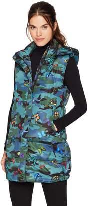 GUESS Women's Sleeveless Butterfly Patch Camo Puffer Vest