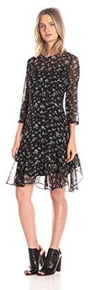 Donna Morgan Women's 3/4-Sleeve A-Line Dress with Ditsy Floral $62.99 thestylecure.com