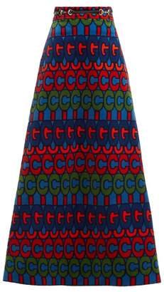 Gucci Gg Print A Line Velvet Skirt - Womens - Blue Multi