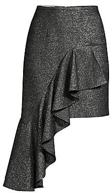 Michael Kors Women's Cascade Metallic Wool Ruffle Mini Skirt