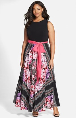 Plus Size Women's Eliza J Scarf Print Jersey & Crepe De Chine Maxi Dress $168 thestylecure.com