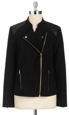 Calvin Klein Fabric Faux Leather Moto Jacket