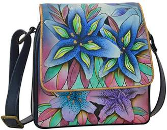Anuschka Hand Painted Triple Compartment Crossbody Organizer