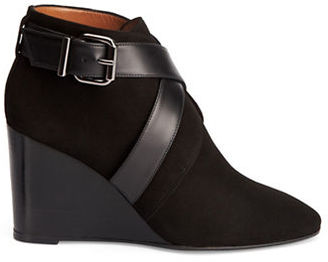 Aquatalia Tillie Suede and Leather Wedge Booties $675 thestylecure.com