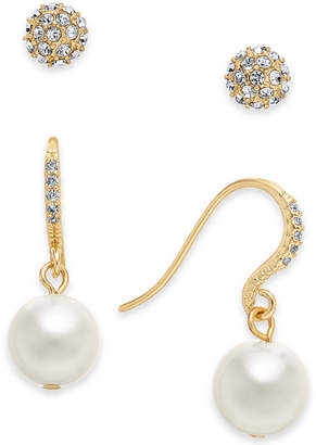 Charter Club Gold-Tone Imitation Pearl and Crystal Pave Earring Set