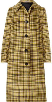 Bottega Veneta Checked Brushed-wool Coat - Yellow