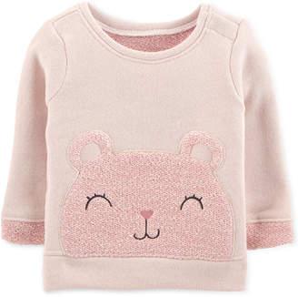 Carter's Baby Girls Embroidered Bear Sweatshirt