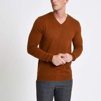 River Island Mens Light brown slim fit V neck sweater