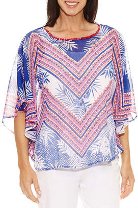 Lark Lane Elbow Sleeve Scoop Neck Chiffon Embellished Blouse