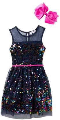 Beautees Illusion Neck Belted Sequin Dress with Bow (Big Girls)