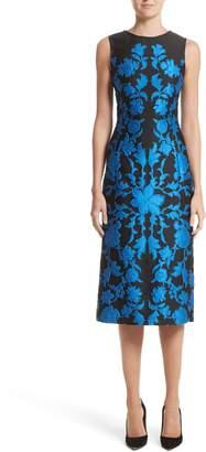 Oscar de la Renta Matelasse Floral Jacquard Dress