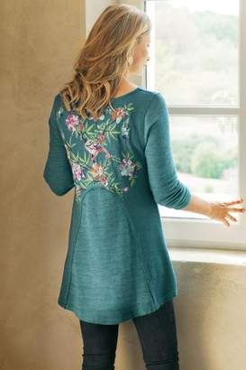 Soft Surroundings Petites Embroidered Thermal Swing Sweatshirt