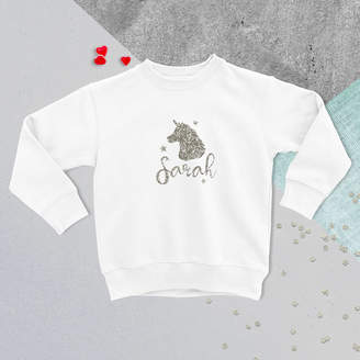 Hurley Sarah Personalised Childrens Glitter Unicorn Jumper