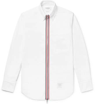 Thom Browne Grosgrain-Trimmed Cotton Oxford Zip-Up Shirt