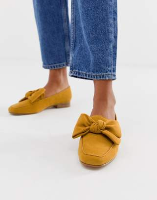 Asos Design DESIGN My Girl Bow Loafers in mustard