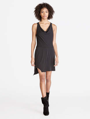 Halston Cowl Drape Jersey Dress With Chain Embellishment