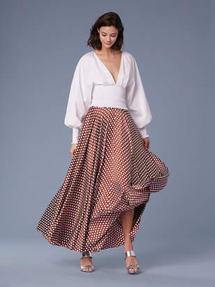 Diane von Furstenberg Long-Sleeve Smocked Cotton Blouse