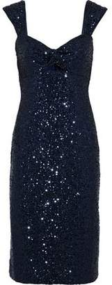 Milly Kim Twist-Front Cutout Sequined Tulle Dress