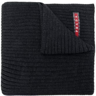 Prada logo ribbed scarf