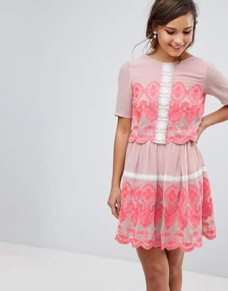Asos PREMIUM Double Layer Mini Embroidered Dress