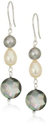 Mother of Pearl Dyed and Natural Color Cultured Freshwater Pearl and Earrings with Sterling Silver Ear Wire Drop Earrings