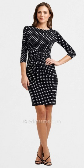 Adrianna Papell Long Sleeved Fitted Black and White Polka Dot Dresses