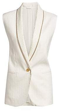Brunello Cucinelli Women's Cotton& Linen Monili and Paillette Chevron Vest