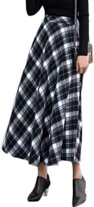 Cruiize Womens High Waist Plaid Pleated Woolen Stylish Flare Skirt Dress XL