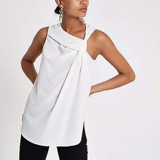 River Island White knot front sleeveless top