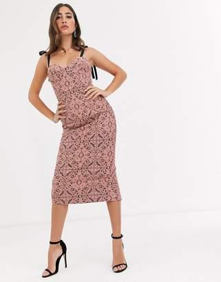 Asos Design DESIGN geo lace structured pencil mid dress with grosgrain straps