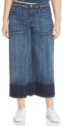 Marina Rinaldi x Ashley Graham Idioma Wide-Leg Fringed-Hem Jeans