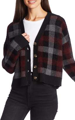 1 STATE 1.STATE Plaid Button Front Crop Cardigan