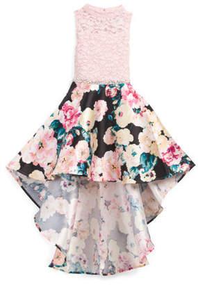 Big Girls Glitter Lace Hi Low Floral Dress