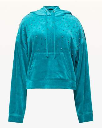 Juicy Couture Bead Embellished Lightweight Velour Hooded Pullover