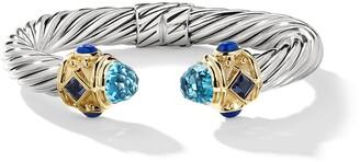 David Yurman Silver and 14kt yellow gold Renaissance Cable topaz, iolite and lapis lazuli cuff