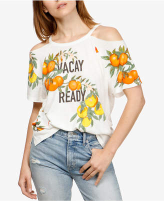 Lucky Brand Cotton Printed Cold-Shoulder T-Shirt, Created for Macy's