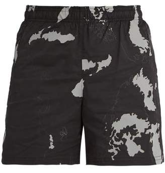Blackbarrett By Neil Barrett - Globe Print Shell Shorts - Mens - Black Multi
