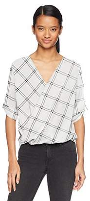 Amy Byer A. Byer Women's Young Teen Printed Roll Tab Sleeve Wrap Front Top