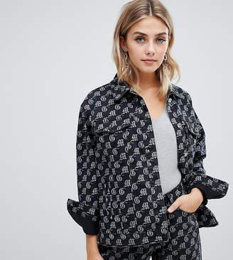 Missguided oversized branded denim jacket