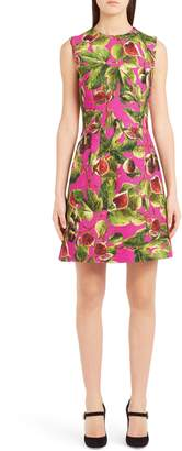 Dolce & Gabbana Fig Print Brocade A-Line Dress