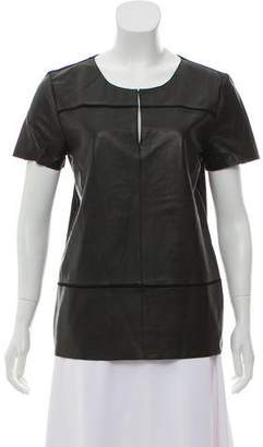 Ecru Leather Short-sleeve Top w/ Tags
