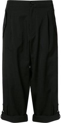 Yohji Yamamoto folded hem cropped trousers $1,190 thestylecure.com