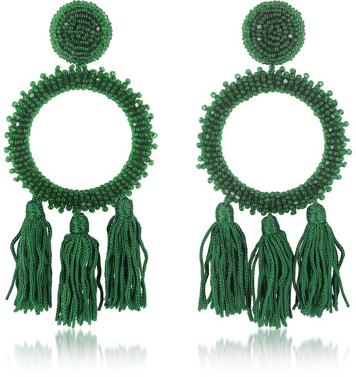 Oscar de la Renta Large Beaded Circle With Tassel Earrings