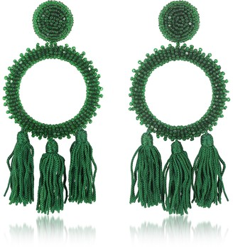 Oscar de la Renta Large Beaded Circle With Tassel Earrings