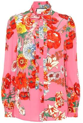 Gucci Floral-printed silk crêpe blouse